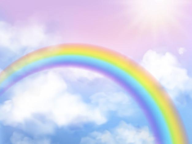Regenboog hemel. fantasie hemel landschap regenboog in witte wolken iriserende girly eenhoorn achtergrond