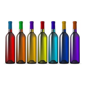 Regenboog kleur glazen wijnflessen