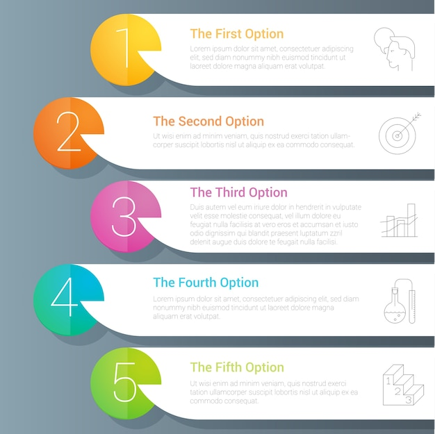 Regenboog kleur infographics stap voor stap sjabloon.