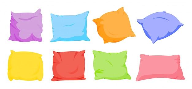 Regenboog kussen cartoon set. interieur zacht textiel. zeven kleuren vierkante kussens sjabloon