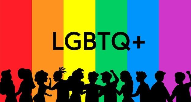 Regenboog lgbt of lgbtqia + trots vlagpictogram teken plat