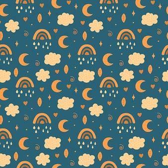 Regenboog, maan, wolken en sterrenpatroon