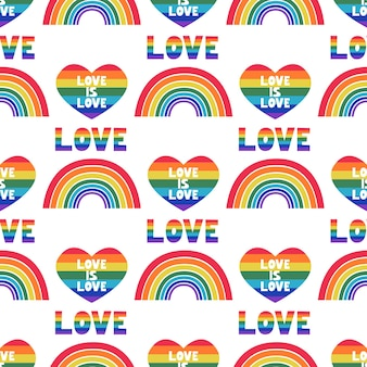 Regenboog met een hart en de inscriptie liefde is liefde vector naadloos patroon in een vlakke stijl