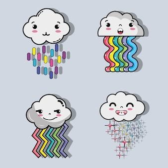 Regenboog met kawaii tenders wolken ontwerp