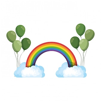 Regenboog met wolken geïsoleerd pictogram