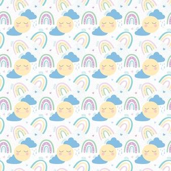Regenboog met wolken, zon en harten naadloos patroon. vectorillustratie