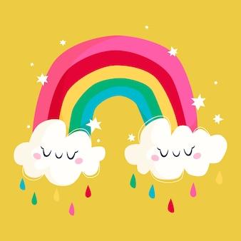 Regenboog met wolken