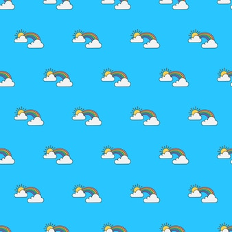 Regenboog met zon en wolken naadloos patroon. weer fenomenen thema illustratie