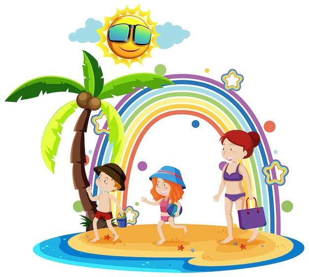 Regenboog op het eiland met familie op vakantie