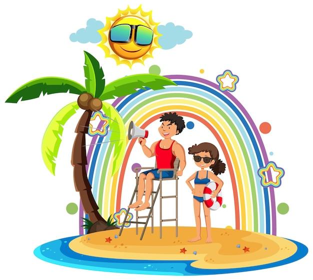 Regenboog op het eiland met strandwacht