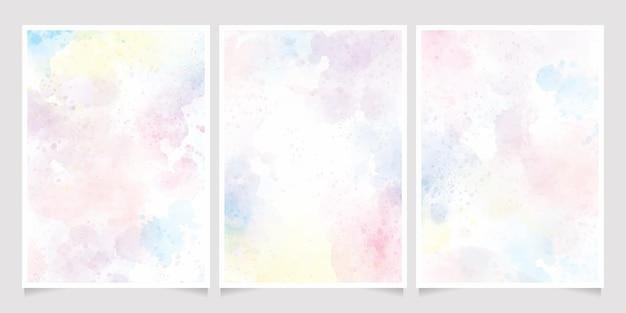 Regenboog pastel aquarel uitnodigingskaart collectie