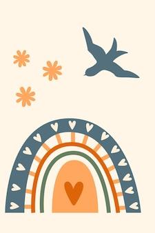 Regenboog patroon achtergrond. cartoon regenboog boog boho minimalistische print voor ontwerp baby shower uitnodiging, kid shop tag, meisje t shirt print etc.