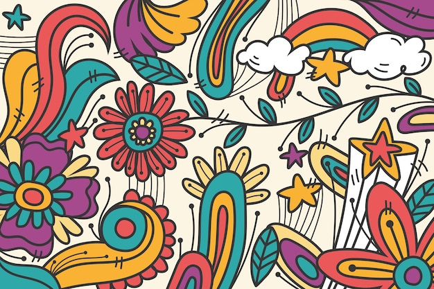 Regenboog psychedelische groovy achtergrond