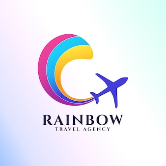 Regenboog reisbureau logo sjabloon. vliegtuigpictogram en regenboog