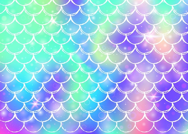 Regenboog schalen achtergrond met kawaii zeemeermin prinses patroon. vissenstaartbanner met magische glitters en sterren. zee fantasie uitnodiging voor girlie party. creatieve achtergrond met regenboogschalen.