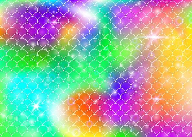 Regenboog schalen achtergrond met kawaii zeemeermin prinses patroon. vissenstaartbanner met magische glitters en sterren. zee fantasie uitnodiging voor girlie party. parelmoer achtergrond met regenboog schalen.