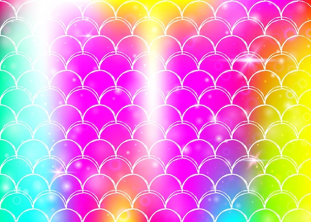 Regenboog schalen achtergrond met kawaii zeemeermin prinses patroon. vissenstaartbanner met magische glitters en sterren. zee fantasie uitnodiging voor girlie party. regenboogachtergrond met regenboogschalen.