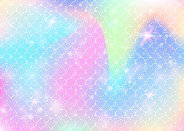 Regenboog schalen achtergrond met kawaii zeemeermin prinses patroon. vissenstaartbanner met magische glitters en sterren. zee fantasie uitnodiging voor girlie party. veelkleurige achtergrond met regenboogschalen.