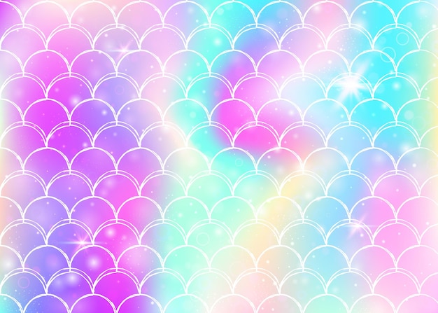 Regenboog schalen achtergrond met kawaii zeemeermin prinses patroon.