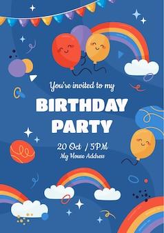 Regenboog verjaardag uitnodiging sjabloon