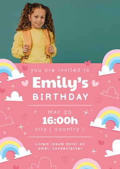 Regenboog verjaardagsuitnodiging met fotosjabloon