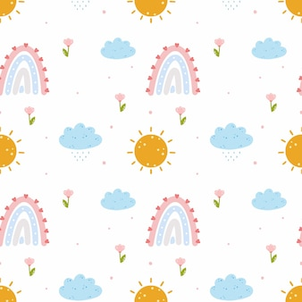 Regenboog, wolk met regen. naadloos patroon voor het naaien van kinderkleding en het bedrukken van verpakkingspapier. eindeloos behang voor de kinderkamer. baby cartoon afbeelding.