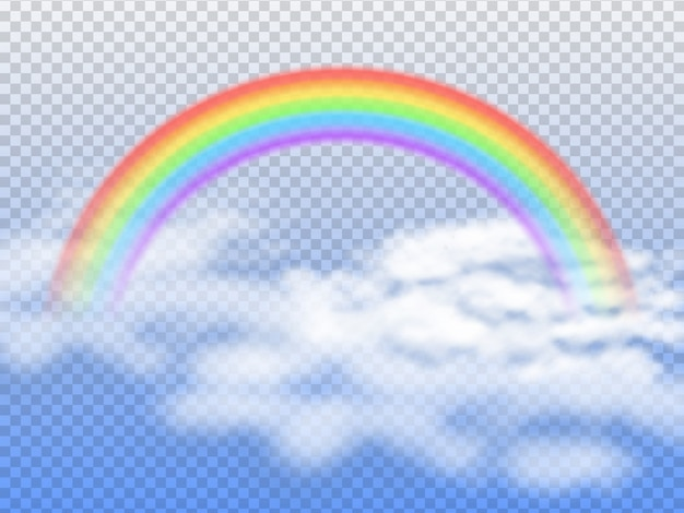 Regenboogboog met witte wolken in blauwe 3d hemel
