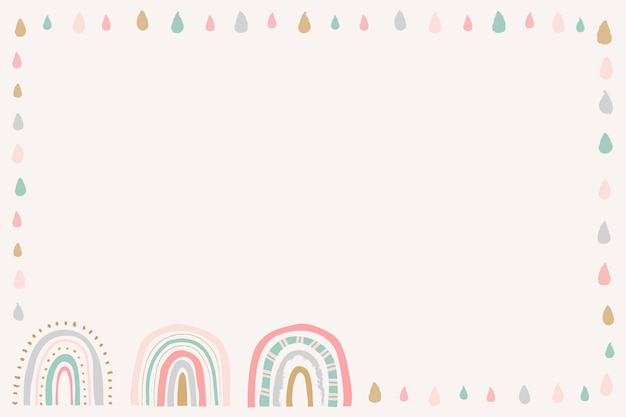 Regenboogframe, schattige doodle grensvector