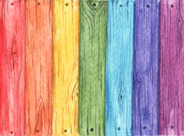 Regenboogkleurig geschilderd op oud hout. houten planken met zeven kleuren. rood, oranje, geel, groen, blauw, indigo en paars.