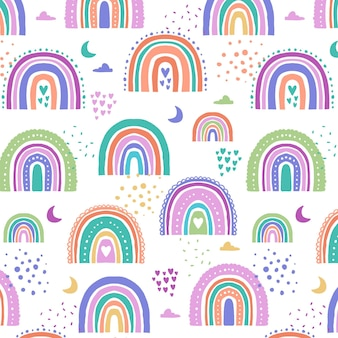 Regenboogpatroon in handgetekende stijl