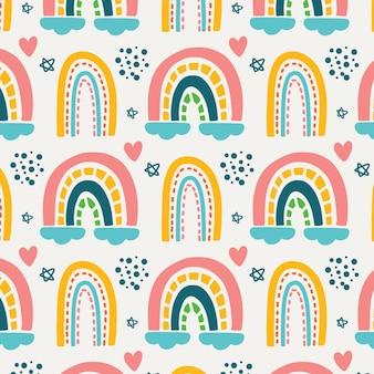 Regenboogpatroon met hartvormen