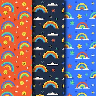 Regenboogpatroon met plat ontwerp