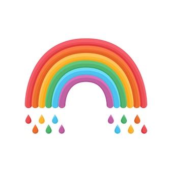 Regenboogpictogram met regen lgbtq-gerelateerd symbool in regenboogkleuren gay pride rainbow community pride