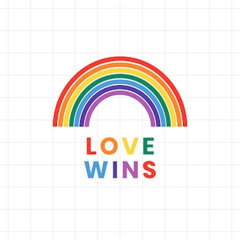 Regenboogsjabloon vector lgbtq-trotsmaand met liefde wint tekst