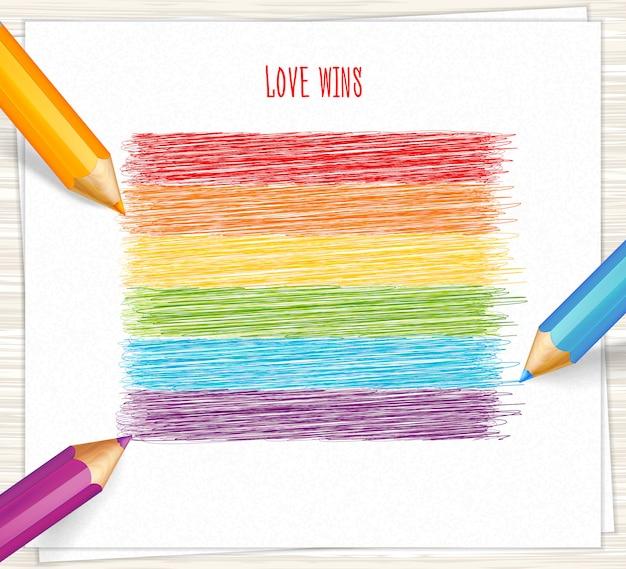 Regenboogstrepen getekend met potloden