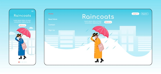 Regenjassen landingspagina kleur sjabloon. mobiel scherm. rainywear homepage-indeling. modieuze vrouw één pagina website-interface, stripfiguur. regenachtige dag webbanner, webpagina