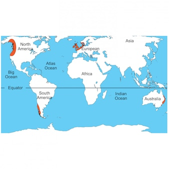 Regenkaart op de continenten