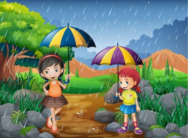 Regenseizoen met twee meisjes in het park