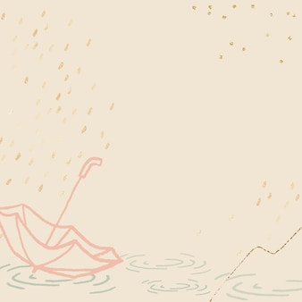 Regenseizoenachtergrond in pastelgeel met schattige parapluillustratie