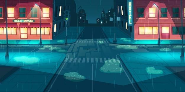 Regenval op stad, stad straat cartoon vector