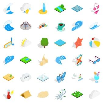 Regenwater iconen set, isometrische stijl