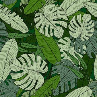 Regenwoud naadloos patroon. moderne exotische tropische palmbladenachtergrond.