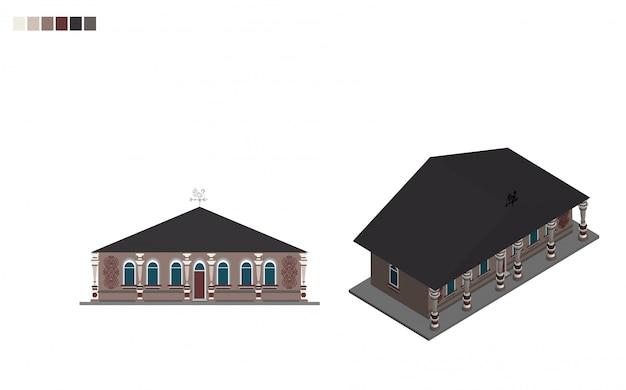 Regeringsgebouw isometrisch administratief huis van architecturale stijl