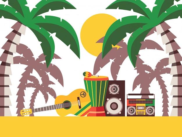 Reggaemuziek strandfeest muziekinstrumenten op het zand onder palmbomen l