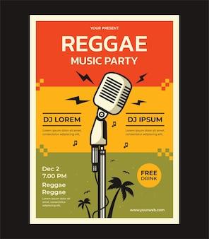 Reggaemuziekfeest vector posterontwerpsjabloon met plaats voor uw tekst
