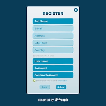 Registratie formuliersjabloon met plat ontwerp
