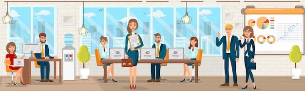 Registratie vector flat office met specialisten.