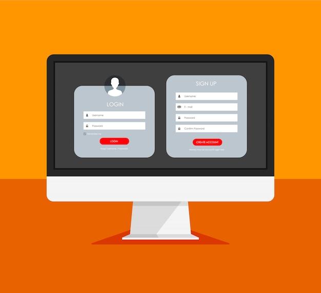 Registratieformulier en loginformulierpagina op een monitorscherm.