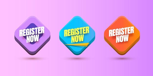 Registreer nu banner ontwerpsjabloon