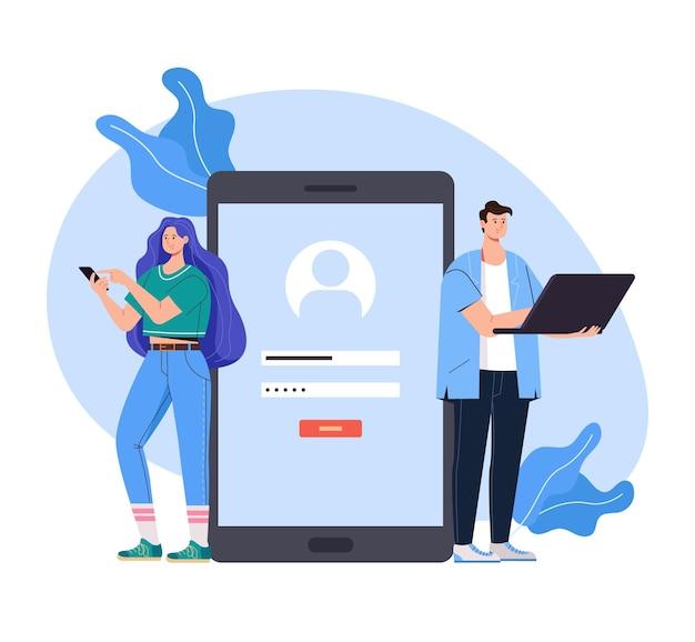 Registreer toegang login wachtwoord internet online website concept vlakke afbeelding